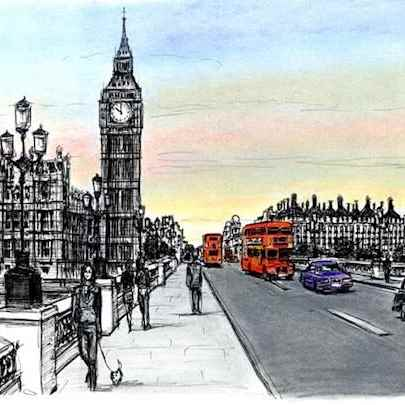 Big Ben and Houses of Parliament from Westminster Bridge - Drawings - Originals, prints and limited editions