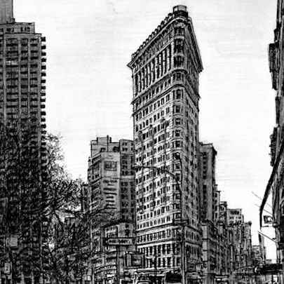Flat Iron Building NY - Drawings - Originals, prints and limited editions