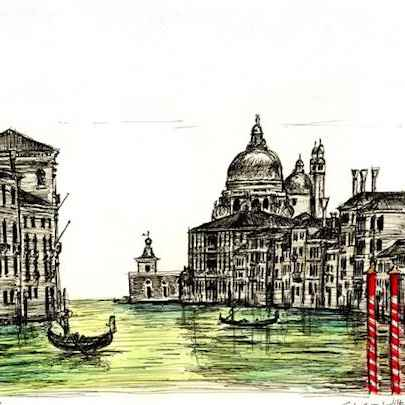 Birds eye view of Salute in Venice - Drawings - Originals, prints and limited editions