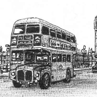 London Transport Bus (Routemaster) - Drawings - Originals, prints and limited editions