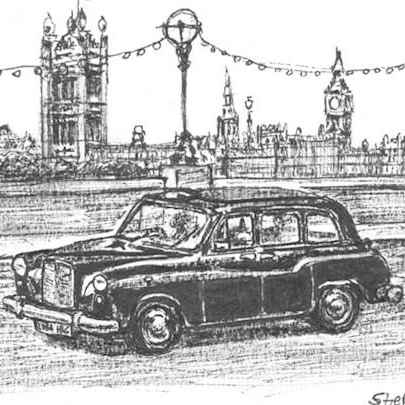London Taxi - Drawings - Originals, prints and limited editions