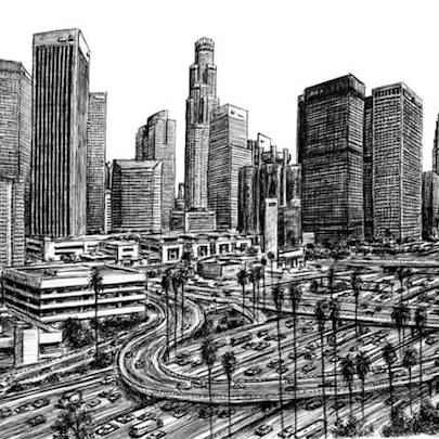 Los Angeles Skyline 2007 (A2 print)1 - Prints for sale