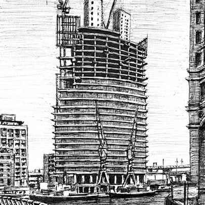 No.1 West India Quay at Canary Wharf - Original drawings