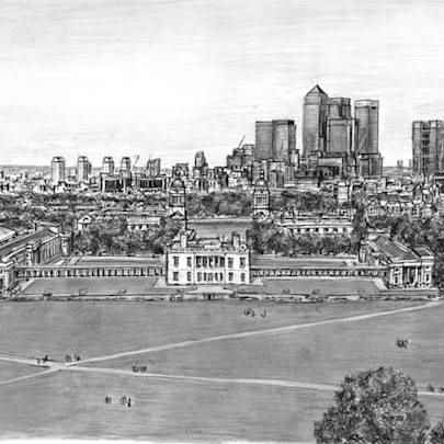 View of Canary Wharf and Docklands from Greenwich - Original drawings