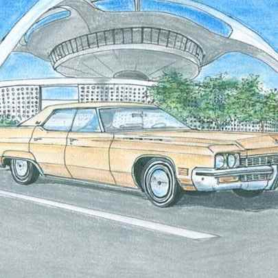 1972 Buick Electra Sedan - Drawings - Originals, prints and limited editions