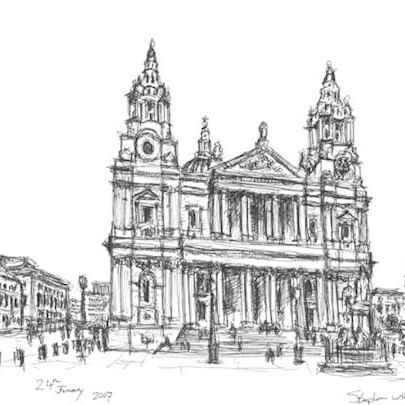 Quick sketch of St Pauls Cathedral - Original drawings