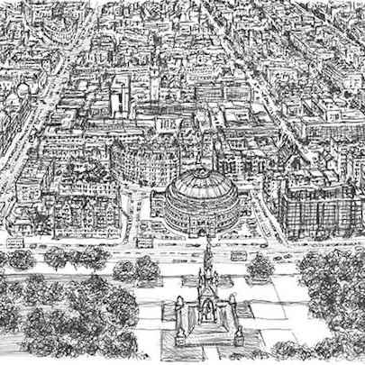 Drawing of Aerial view of Royal Albert Hall and Kensington