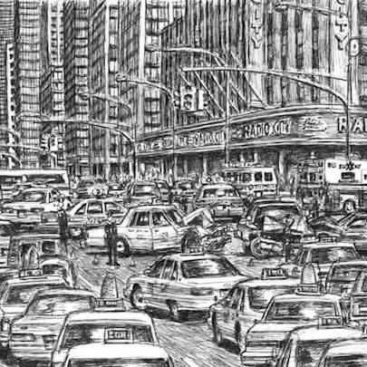 Traffic chaos in New York City - Drawings - Originals, prints and limited editions