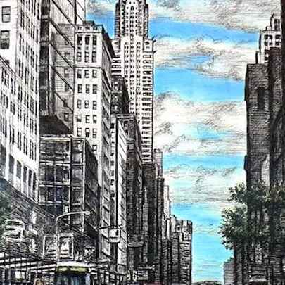 Chrysler Building with street scene in New York - Original drawings