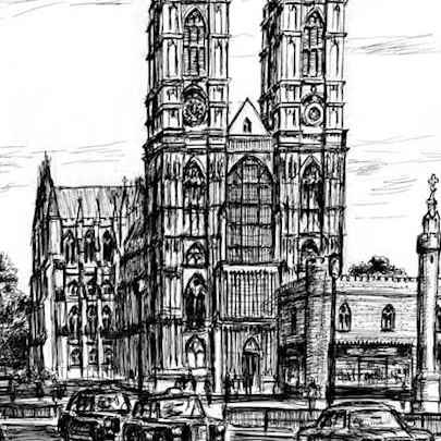 Westminster Abbey London - Drawings - Originals, prints and limited editions
