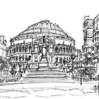 Royal Albert Hall from the steps of Royal College of Music - Original drawings