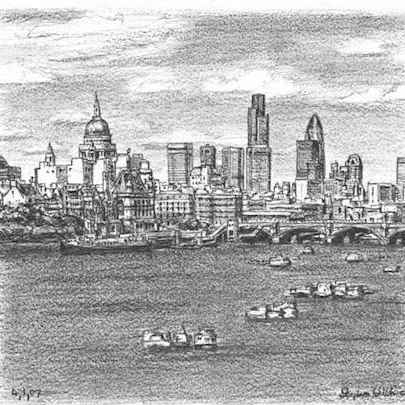 St Pauls Cathedral and London City Skyline - Original drawings