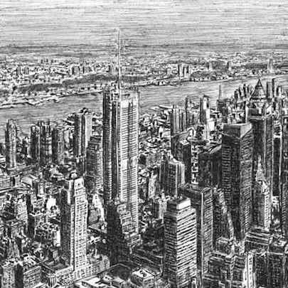 Manhattan Skyline from top of Empire State - Original Drawings