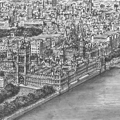 Aerial view of Houses of Parliament - Original drawings