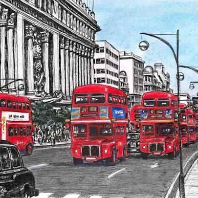 Red buses on Oxford Street - Limited Edition of 100 - Drawings - Prints for sale