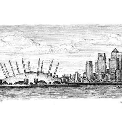 Millennium Dome and view of Canary Wharf - Original Drawings