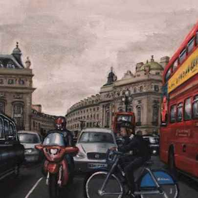 Piccadilly Circus - oil on canvas - Paintings - Originals, prints and limited editions