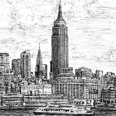 Drawing of Empire State Building NYC