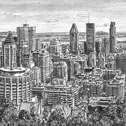 Downtown Montreal - Drawings - Originals, prints and limited editions