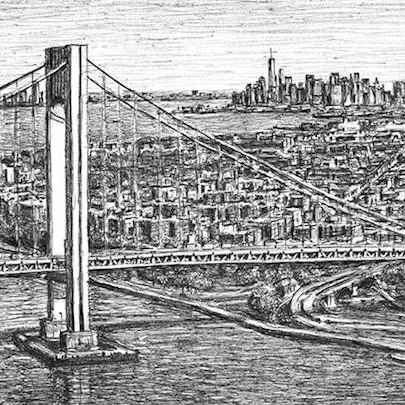 Aerial view of Verrazano Narrows Bridge - Drawings - Originals, prints and limited editions