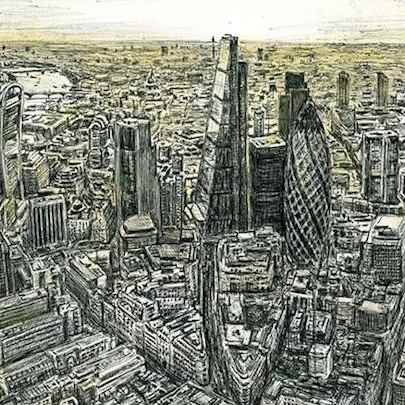 Aerial view of City of London - Drawings - Originals, prints and limited editions