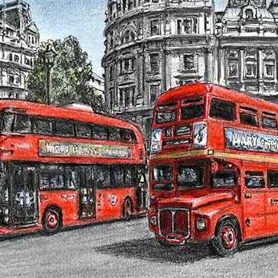 The old and new Routemaster buses - Drawings - Originals for sale