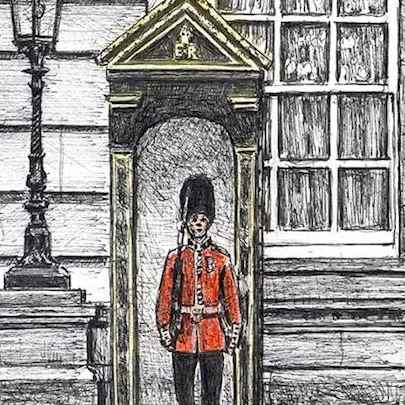 Soldier guarding Buckingham Palace - Drawings - Originals for sale