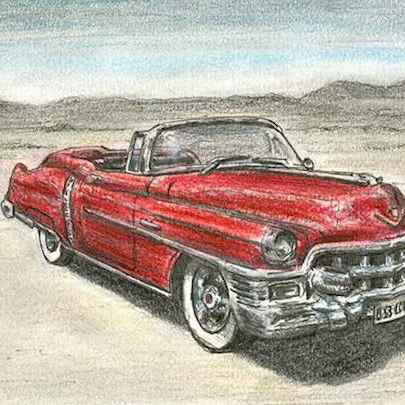 1953 Cadillac Eldorado Convertible - Drawings - Originals, prints and limited editions