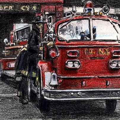 American La France FDNY Ladder - Drawings - Originals, prints and limited editions