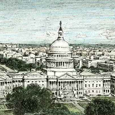 Aerial view of Capitol Hill - Drawings - Originals, prints and limited editions