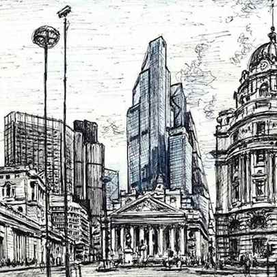 22 Bishopsgate (Bank of England and Royal Exchange) - Drawings - Originals, prints and limited editions