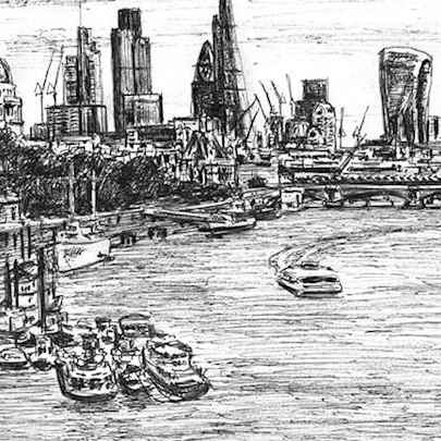 London Skyline at Embankment - Drawings - Originals, prints and limited editions