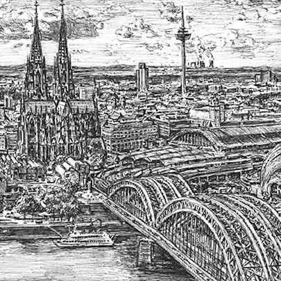 Cologne, Germany - Drawings - Originals, prints and limited editions