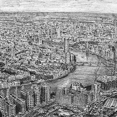 Drawing of Aerial view of the Nine Elms Development, London