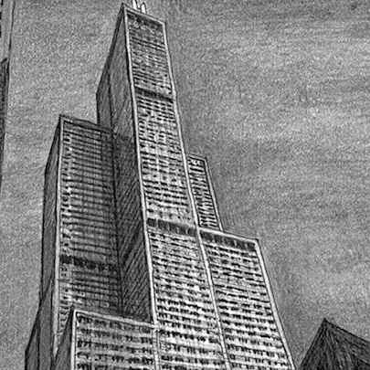 Sears Tower (Chicago USA) - Drawings - Originals, prints and limited editions