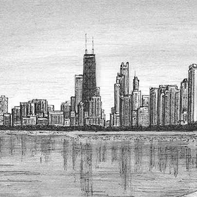 Chicago skyline from Lakeshore Drive - Drawings - Originals, prints and limited editions