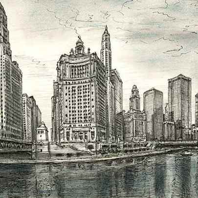 Chicago River USA - Drawings - Originals, prints and limited editions