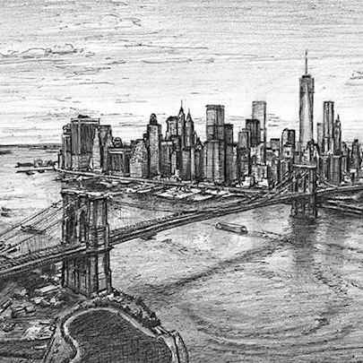 Drawing of Aerial view of Manhattan skyline & Brooklyn Bridge