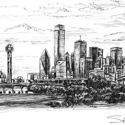 Dallas Skyline, Texas - Original Drawings