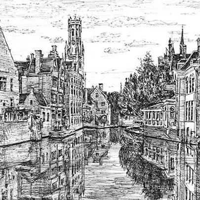 Bruges, Belgium - Drawings - Originals, prints and limited editions