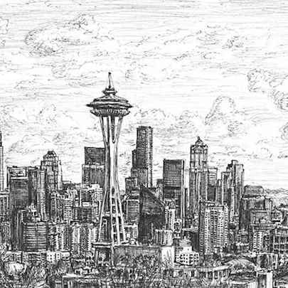 Seattle skyline - Drawings - Originals, prints and limited editions