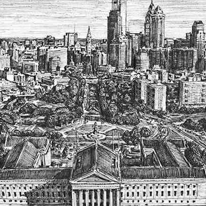 Philadelphia skyline - Drawings - Originals, prints and limited editions