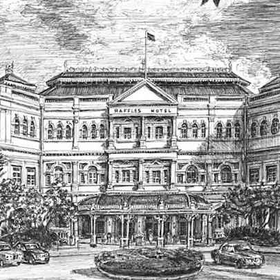 Raffles Hotel, Singapore - Drawings - Originals, prints and limited editions