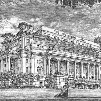 Fullerton Hotel, Singapore - Drawings - Originals, prints and limited editions