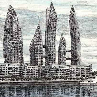 Reflections, Singapore - Drawings - Originals, prints and limited editions