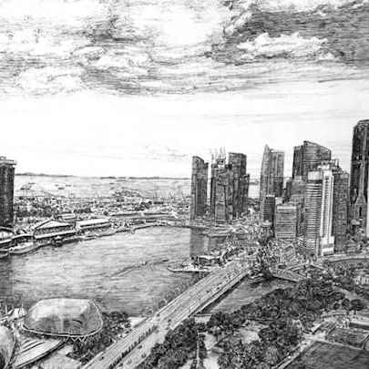 Marina Bay, Singapore - Drawings - Originals, prints and limited editions