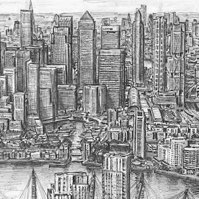 Clusters of Canary Wharf skyscrapers in 2030 - Drawings - Originals, prints and limited editions