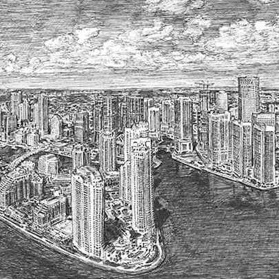 Aerial view of Downtown Miami - Original drawings