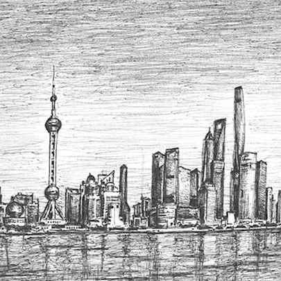 Shanghai skyline - Drawings - Originals, prints and limited editions