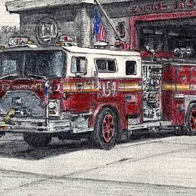 FDNY 154 1988 Mack CF Ward 99 Engine - Drawings - Originals, prints and limited editions